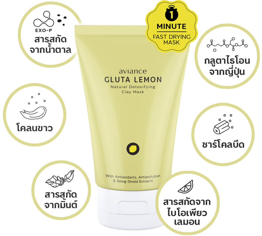 GLUTA LEMON Natural Detoxifying Clay Mask which contains 6 powerful detoxifying ingredients